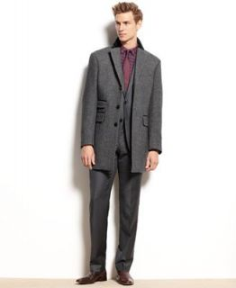 Bar III Coat, Carnaby Collection Chesterfield Grey Herringbone Wool Blend Overcoat   Coats & Jackets   Men