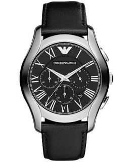 Emporio Armani Watch, Mens Chronograph Black Leather Strap 45mm AR1700   Watches   Jewelry & Watches
