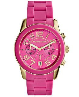 Michael Kors Womens Chronograph Mercer Pink Silicone Bracelet Watch 42mm MK5890   Watches   Jewelry & Watches
