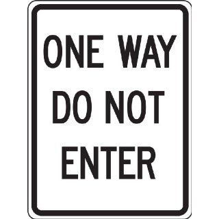 "Accuform Signs FRR124RA Engineer Grade Reflective Aluminum Facility Traffic Sign, Legend ""ONE WAY DO NOT ENTER"", 18"" Width x 24"" Length x 0.080"" Thickness, Black on White Industrial Warning Signs"