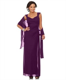 Alex Evenings Petite Dress and Shawl, Sleeveless Cowl Neck Beaded Evening Gown   Dresses   Women