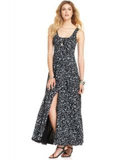 Free People Dress, Sleeveless Scoop Neck Floral Print A Line Maxi   Dresses   Women