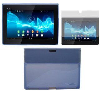 HappyZone Rubberized TPU Skin Case Cover With Anti Glare Matte Screen Protector For Sony Xperia Tablet S (SGPT121US/SGPT122US/SGPT123US) Tablet   Blue Computers & Accessories