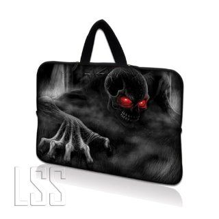 "LSS 17 inch Laptop Sleeve Bag Carrying Case Pouch with Hidden Handle for 17.4"" 17.3"" 17"" 16"" Apple Macbook, GW, Acer, Asus, Dell, Hp, Sony, Toshiba, Red Eye Dark Ghost Zhombie Skull Computers & Accessories"