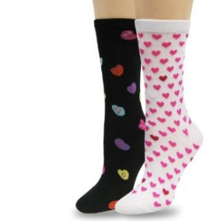 TeeHeeSocks Valentine's Day Womens Crew Socks 2 Pairs Assorted Patterns Clothing