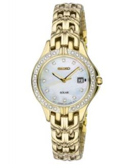 Seiko Watch, Womens Solar Diamond Accent Gold Tone Stainless Steel Bracelet 27mm SUT070   Watches   Jewelry & Watches