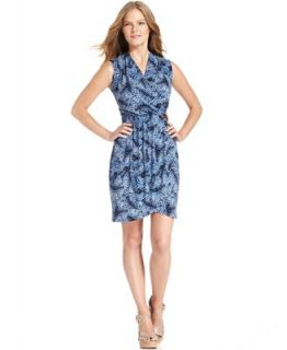 MICHAEL Michael Kors Dress, Sleeveless Printed Faux Wrap   Dresses   Women