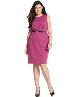 Calvin Klein Plus Size Dress, Sleeveless Pleated Belted   Dresses   Plus Sizes