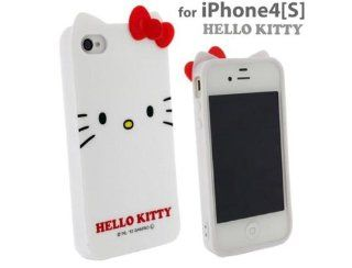 White Hello Kitty Ear phone cover case iPhone 4 iPhone4s Cell Phones & Accessories