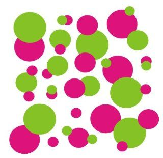 set of 106 Hot Pink and Lime Green polka dots Vinyl wall lettering stickers quotes and sayings home art decor kit peel stick mural graphic appliques decal   Wall Banners