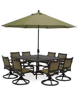 Lexford Aluminum 9 Piece Patio Furniture Set 64 Square Table and 8 Swivel Chairs   Furniture