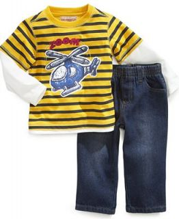 Kids Headquarters Baby Set, Baby Boys Striped Helicopter Shirt & Jeans   Kids
