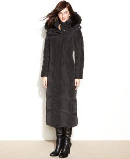 Jones New York Hooded Faux Fur Trim Maxi Puffer Coat   Coats   Women