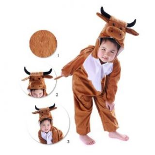 Meilaier Cow Costume Pajamas Kids Sleepwear Animal Onesie Hooded Plush Halloween Cosplay (115cm(For Height 105 120cm)) Clothing