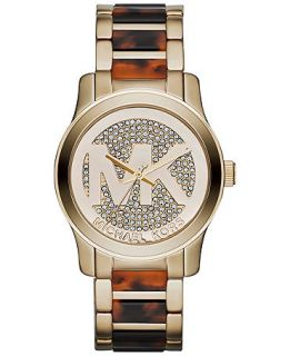 Michael Kors Womens Runway Tortoise Acetate and Gold Tone Stainless Steel Bracelet Watch 38mm MK5864   Watches   Jewelry & Watches