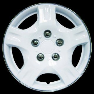 "Wheel Covers In White  Chrome Lip 15"" 4PCS Set Automotive"