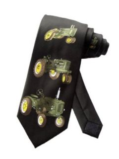 Parquet Mens John Deere Tractor Farm Necktie   Black   One Size Neck Tie Clothing