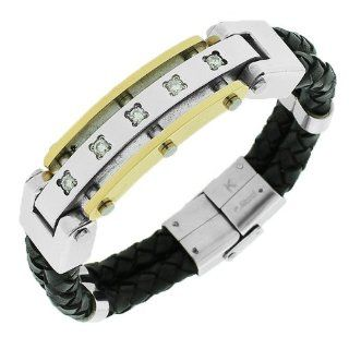 Stainless Steel Black Leather Two Tone Silver Yellow Gold White Crystals Mens Bracelet with Clasp Bangle Bracelets Jewelry