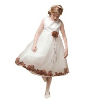 My Girl Dress Inc Girl's Satin And Tulle Floral Accent Flower Girl Dress Clothing