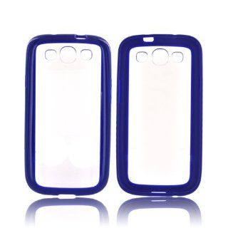 Blue/ Frost White Samsung Galaxy S3 Hard Plastic Back with Silicone Border Bumper [Anti Slip] Supports Premium High Definition Anti Scratch Screen Protector; Best Design with High Quality; Coolest Fashion TPU Case Cover for Galaxy S3 Supports Samsung S3 De