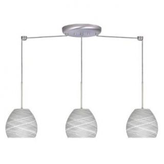 Bolla 3 Light Linear Mini Pendant Bulb Type Halogen, Finish Satin Nickel, Glass Shade Cocoon   Ceiling Pendant Fixtures