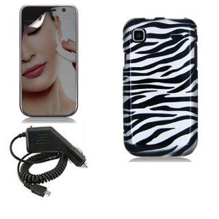 SAMSUNG GALAXY S 4G T959V BLACK WHITE ZEBRA STRIPES CASE, RAPID CAR CHARGER, MIRROR SCREEN PROTECTOR COMBO Cell Phones & Accessories