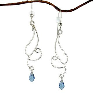 Jewelry by Dawn Long Curved Sterling Silver Earrings with Blue Crystal Jewelry by Dawn Earrings