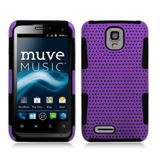 For ZTE Engage LT N8000 (Cricket) Perforated Hybrid 2 in 1, Black+Purple Cell Phones & Accessories
