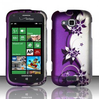 Purple Silver Flower Hard Cover Case for Samsung ATIV Odyssey SCH I930 Cell Phones & Accessories