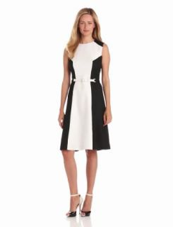 Anne Klein Women's Colorblock Shift Dress, Black/White, 2