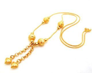 Heart Charm 22K 23K 24K THAI BAHT YELLOW GP GOLD 17 inch NECKLACE Jewelry N_42 Jewelry