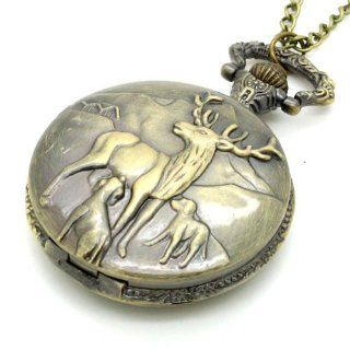 Conbays Bronze Quartz Reindeer Peary Caribou Pocket Watch Necklace Pendant Mens Gift Watches