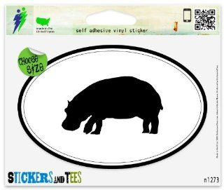 "Hippo Oval Car Sticker Indoor Outdoor 5"" x 3"" Automotive"