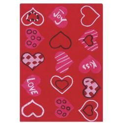 Nuloom Hand carved Kids Valentine Heart Love Red Wool Rug (5 X 8)