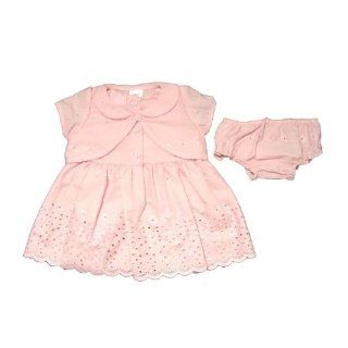 Baby Girl Flower Design Pink Dress and Bottoms with Baby Cardigan and Hair Band Set (0 3 months) (Pink) Playwear Dresses Clothing