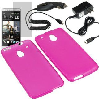 EagleCell Inc. TPU Sleeve Gel Cover Skin Case for AT&T HTC One Mini + LCD + Car + Home Charger Magenta Pink Cell Phones & Accessories