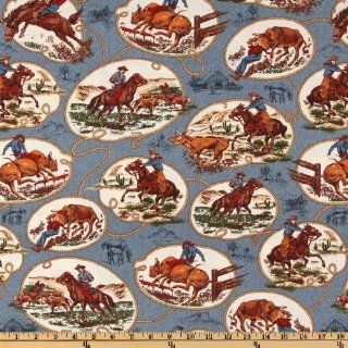44'' Wide Western Trails Cowboy Cameo Blue/Cream Fabric By The Yard
