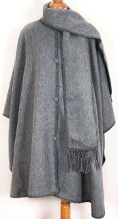 Grey Baby Alpaca Wool Cloak Cape, with Scarf. Very Warm Still Light  Rock Climbing Apparel  Sports & Outdoors