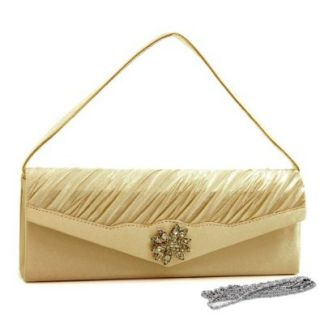 Pleated Evening Bag Clutch W/ Rhinestone Flower Brooch Champagne Satin Evening Handbags Shoes