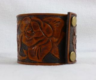 hand carved leather cuff by lewesian leathers