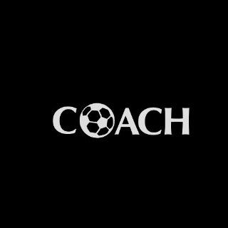 "Coach Soccer Car Window Decal Sticker White 6"" Automotive"