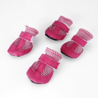 4Pcs Pet Dog boots Soft Mesh Shoes Velcro Closure Sports Sneakers, L, Pink  Pet Paw Protectors