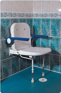 Wall Mounted Shower Seat with Back and Arm Rests   Padded Seat & Back Health & Personal Care