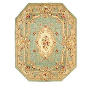 Royal Palace Beveled Edge Savonnerie 8x10 Handmade Wool Rug —