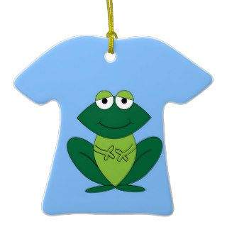 Happy frog smile peace and joy christmas ornament