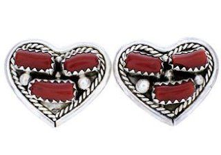 Native American Navajo Sterling Silver Coral Heart Earrings AW71010 SilverTribe Jewelry