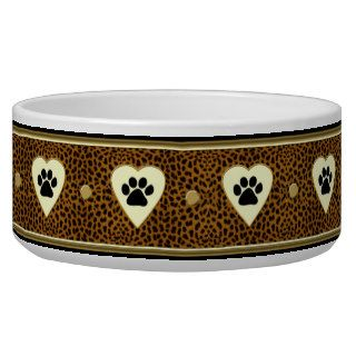 Leopard Print Paws and Hearts Dog Bowl