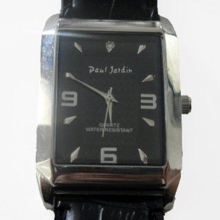 Paul Jardin Designer Men's Dress Watch Leather Band with Square Black Face & Silver Accents at  Men's Watch store.