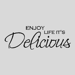 "Enjoy life it's deliciousKitchen Wall Quotes Words Sayings Removble Wall Lettering ( 12"" X 33""), BLACK   Wall Decor"