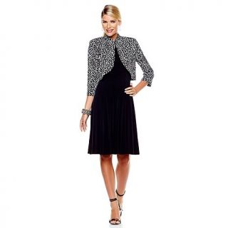 Jessica Howard Black Jersey Dress with Printed Bolero